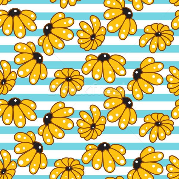 Yellow chamomile striped blue seamless pattern. Stock photo © yopixart