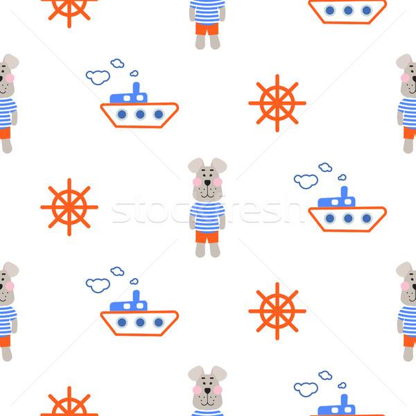 海洋 少年 パターン 船乗り 犬 シームレス ストックフォト © yopixart