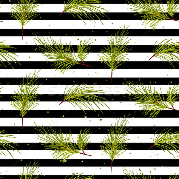 Pine tree branches on black striped background pattern. Stock photo © yopixart