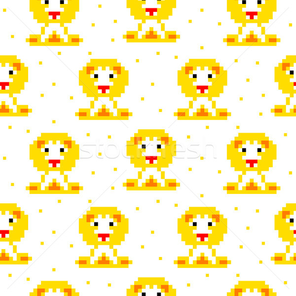 Yellow lion cartoon pixel art seamless pattern. Stock photo © yopixart