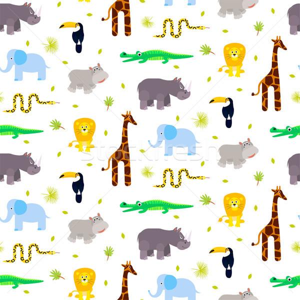 Zoo zwierzęta dziecko wektora żyrafa lew Zdjęcia stock © yopixart