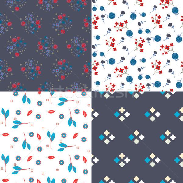 Millefleur flowers and geometric seamless vector pattern set. Stock photo © yopixart