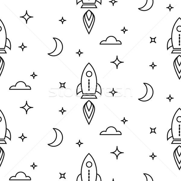 Przestrzeni rakietowe line stylu mały Zdjęcia stock © yopixart