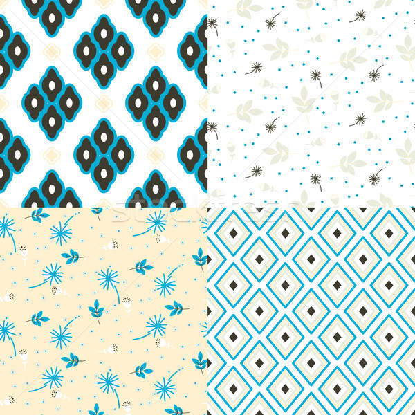 Floral and geometry seamless vector pattern set. Stock photo © yopixart