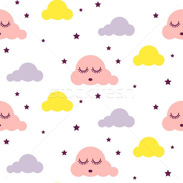 Stock fotó: álmos · felhők · végtelenített · vektoros · minta · gyerek · rózsaszín