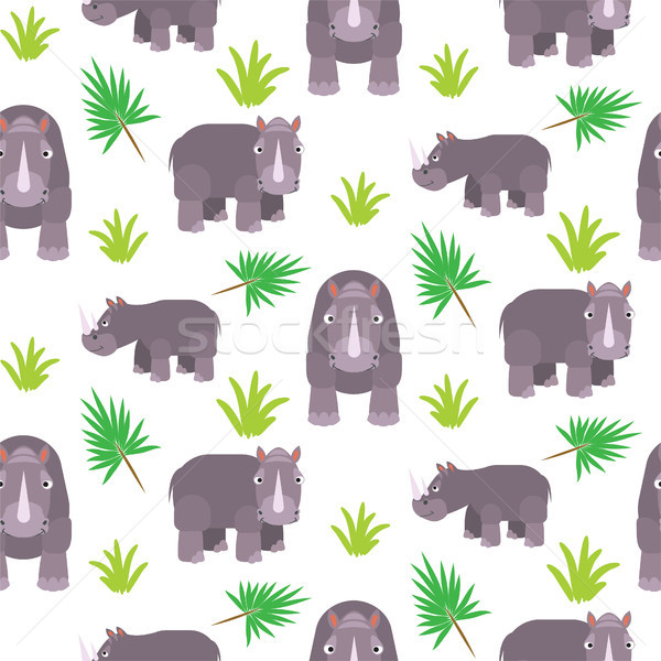 Rinoceronte desenho animado vetor savana Foto stock © yopixart