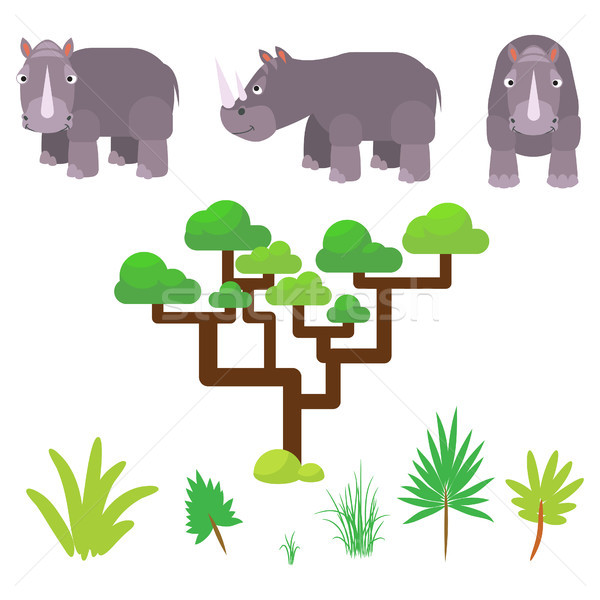 Rhino and savannah plants set cartoon vector illustration on white. Stock photo © yopixart