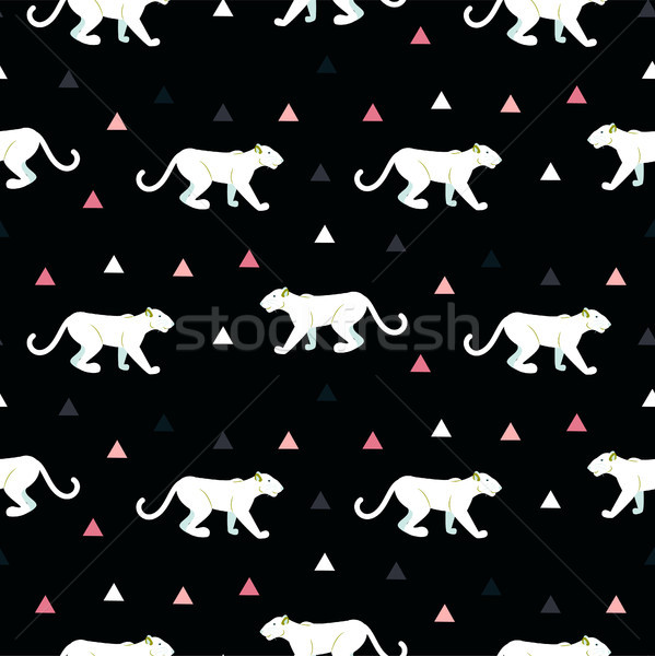 Stock photo: Silhouette of cougar seamless black pattern.