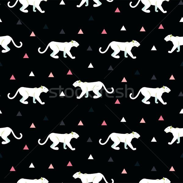 силуэта пума бесшовный черный шаблон белый Сток-фото © yopixart
