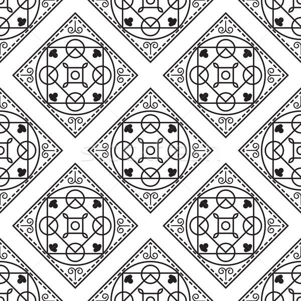 Portuguese black and white mediterranean seamless tile pattern. Stock photo © yopixart