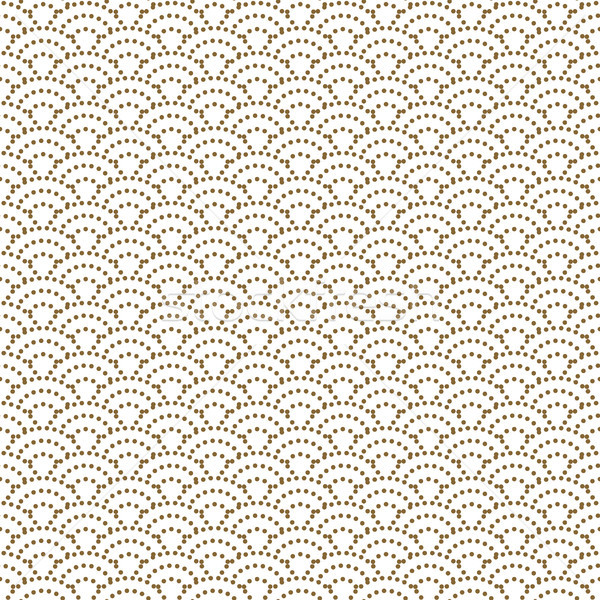 Japanese wave dotted traditional vector seamless pattern in gold line color style. Stock photo © yopixart