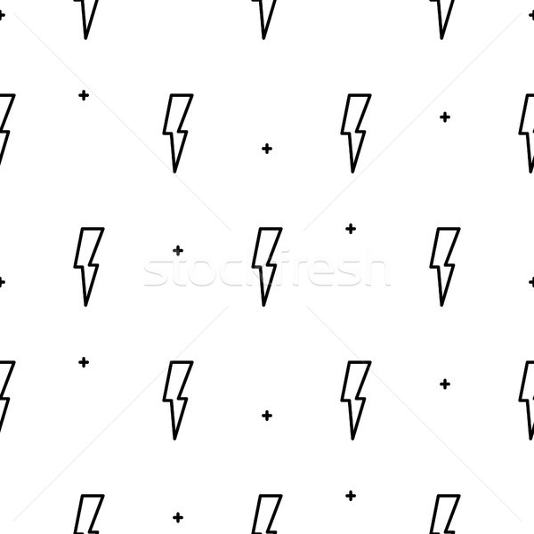 Stock photo: Doodle lightning seamless vector pattern.