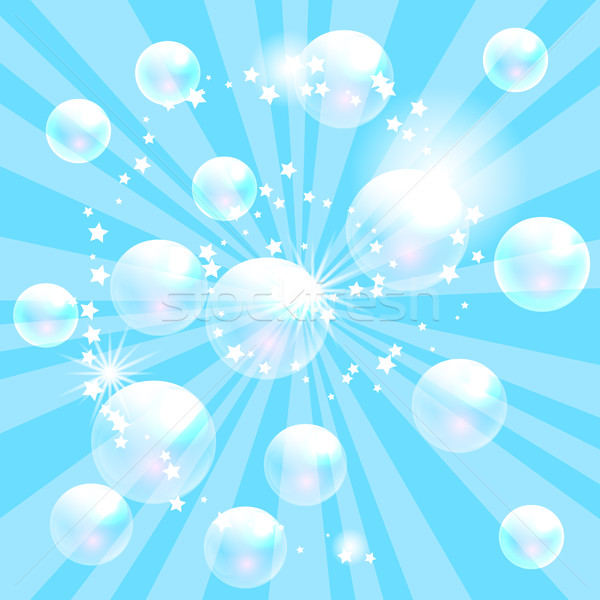 Vector zeepbellen Blauw transparant bubbels banner Stockfoto © yopixart