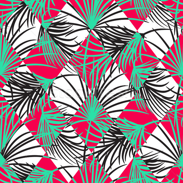 Green and red palm leaves and harlequin rhombs seamless vector pattern. Stock photo © yopixart