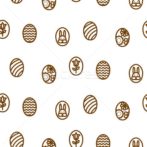 Easter outline icon seamless vector pattern. Stock photo © yopixart