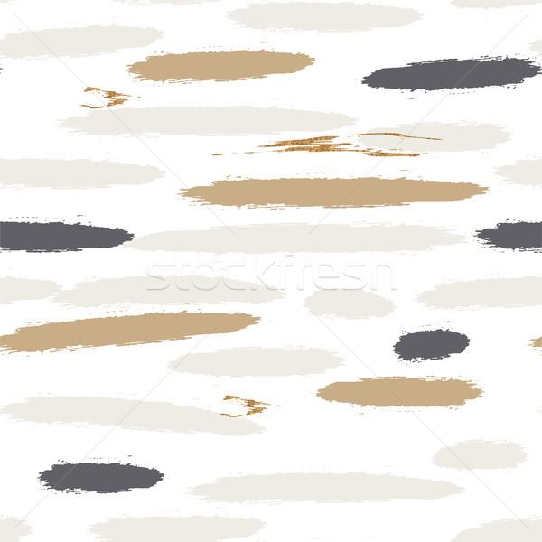 Brushstroke lines pastel paint seamless vector gray gold pattern. Stock photo © yopixart