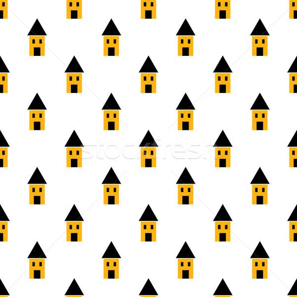 Stock fotó: Egyszerű · citromsárga · fekete · házak · végtelen · minta · minimalista