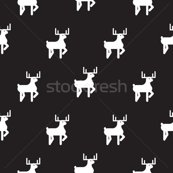 Deer black and white kid silhouette pattern. Stock photo © yopixart