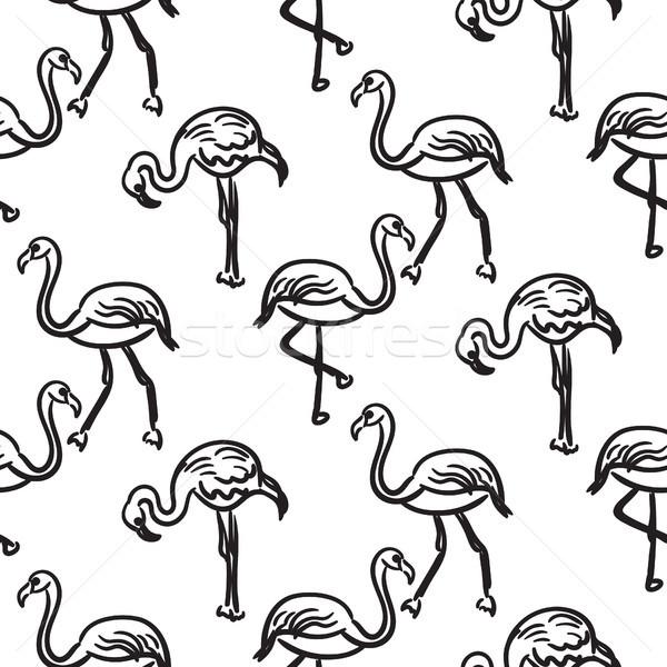 Flamingó fekete skicc rajz végtelenített vektor Stock fotó © yopixart