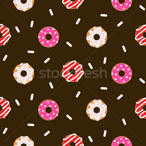 пончик розовый бесшовный шоколадом вектора шаблон Сток-фото © yopixart