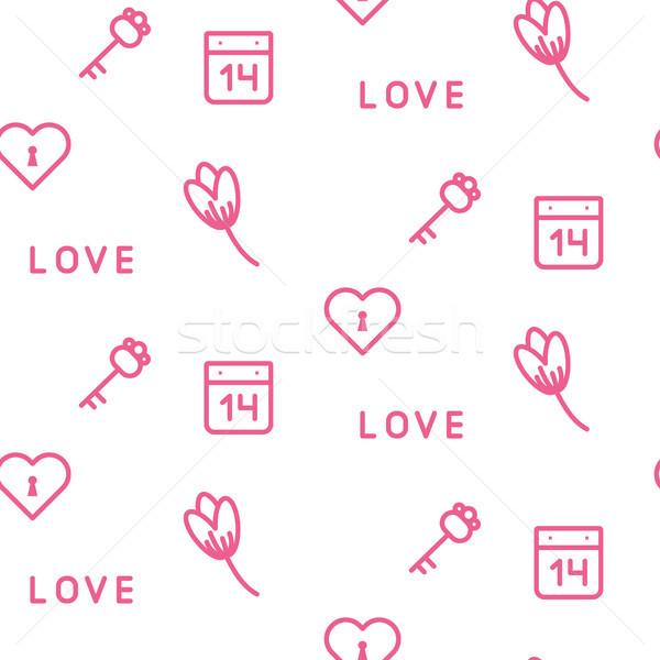 Roze sleutels bloemen naadloos vector patroon Stockfoto © yopixart