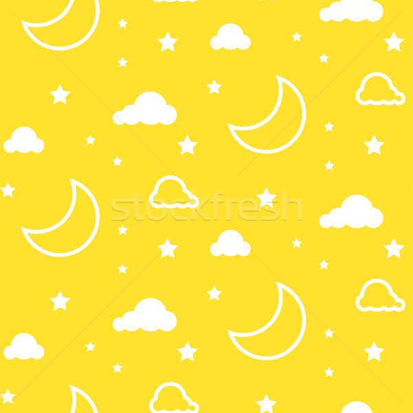 Luna nubi giallo senza soluzione di continuità vettore modello kid Foto d'archivio © yopixart
