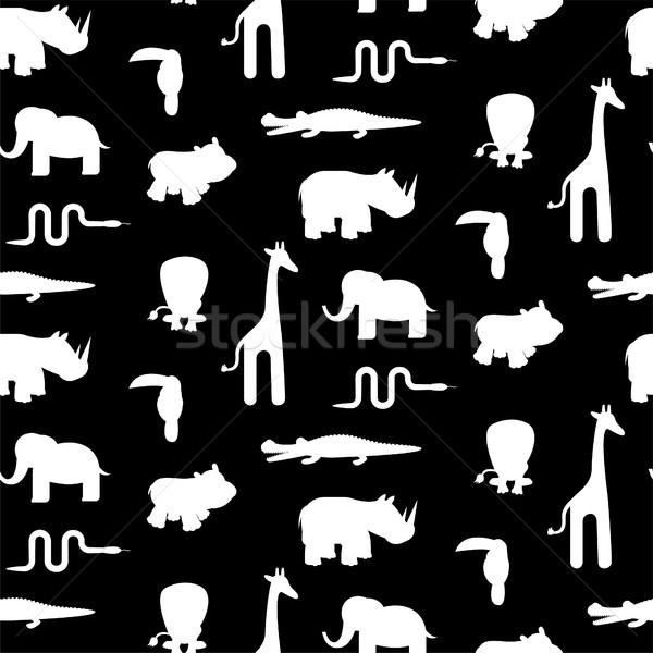 Preto e branco animal silhuetas vetor monocromático Foto stock © yopixart