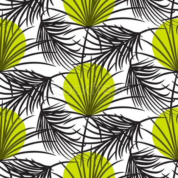 Grigio foglie di palma verde senza soluzione di continuità vettore pattern Foto d'archivio © yopixart