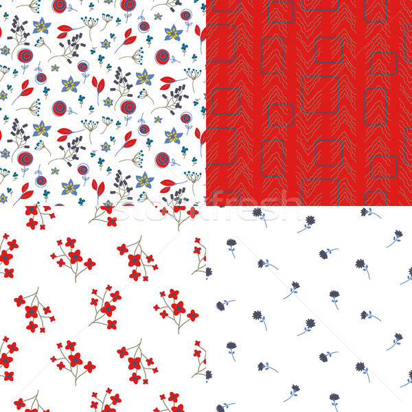 Glade filed small flowers and abstract red seamless vector pattern set. Stock photo © yopixart