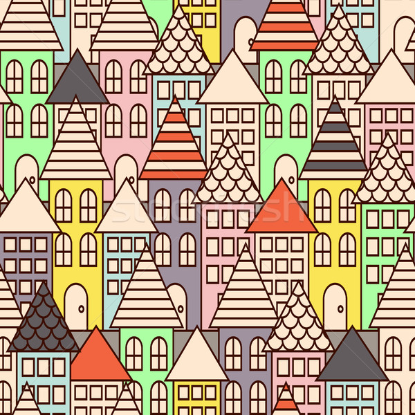 Outline city multicolor seamless pattern. Stock photo © yopixart