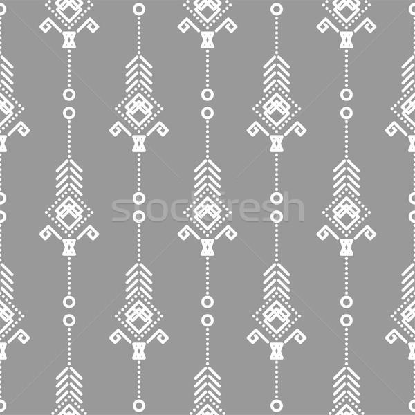 自由奔放な シームレス ベクトル パターン 白 グレー ストックフォト © yopixart