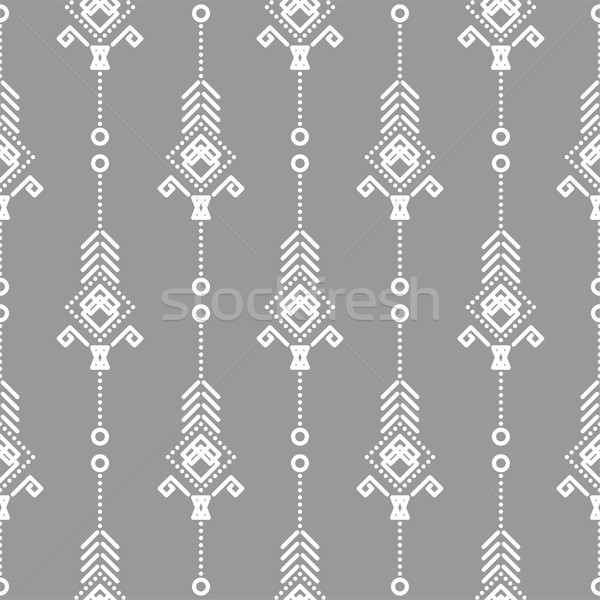 Bohemien Vektor Muster weiß grau Stock foto © yopixart