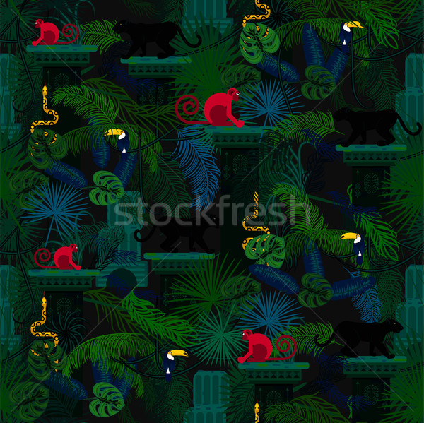 Stock photo: Rainforest wild animals and plants seamless pattern.