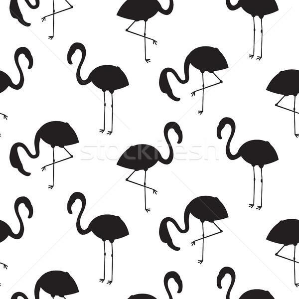 Flamingo noir silhouette vecteur texture Photo stock © yopixart