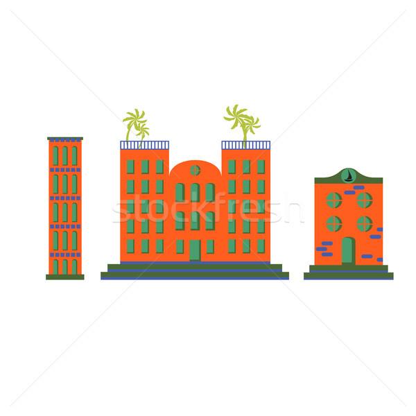 Hotel gebouwen vector cartoon ingesteld oranje Stockfoto © yopixart