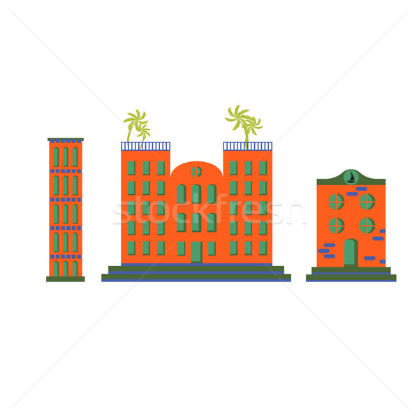 Hôtel bâtiments vecteur cartoon orange Photo stock © yopixart