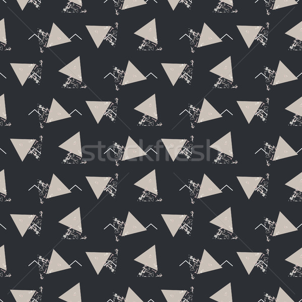 Geometric abstract triangle seamless dark gray vector texture. Stock photo © yopixart