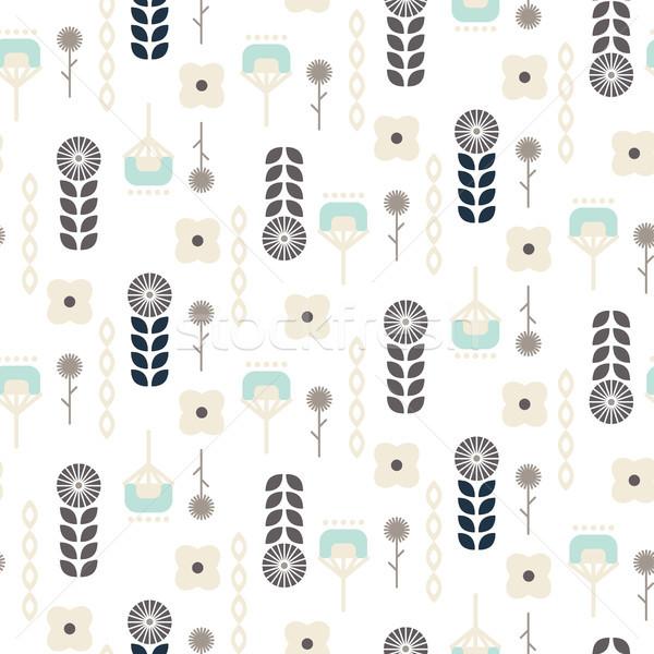 Scandinavian folk floral garden art pattern seamless vector. Stock photo © yopixart