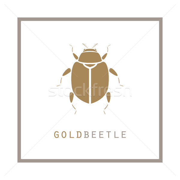 Gold beetle in a frame vector illustration emblem. Stock photo © yopixart