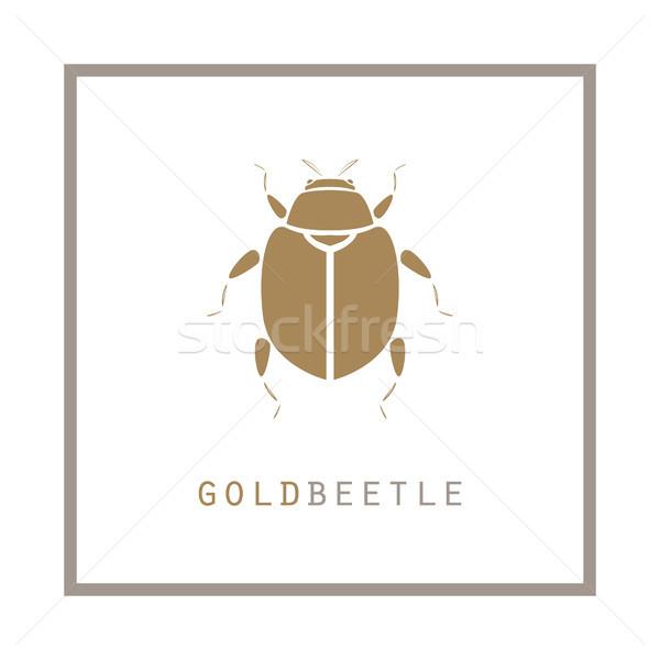 Altın böcek çerçeve amblem logo etiket Stok fotoğraf © yopixart