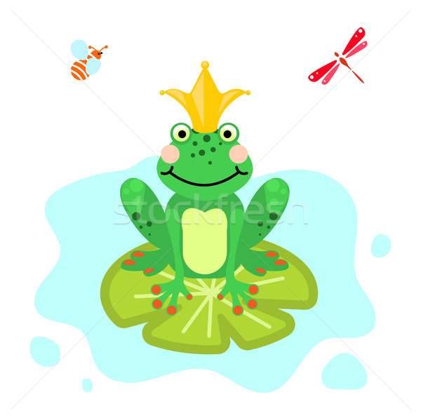 Frog prince cartoon green clip-art isolated vector. Stock photo © yopixart