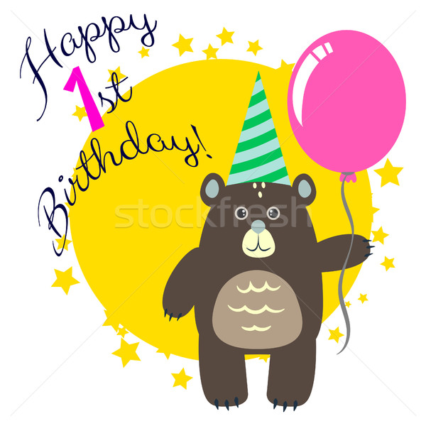 Happy first birthday greeting card with bear. Stock photo © yopixart