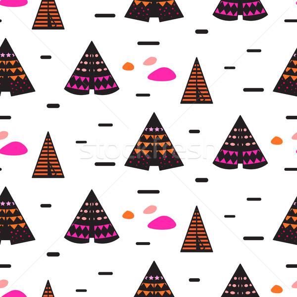 Scandinavian style black teepee seamless pattern. Stock photo © yopixart