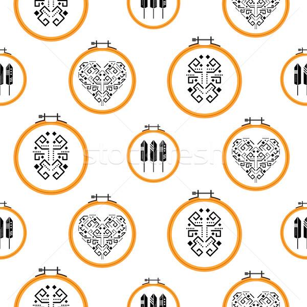 Needlework design on embroidery hoops pattern. Stock photo © yopixart