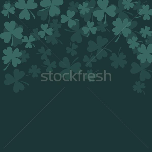 Lóhere sötét zöld kártya levelek vektor Stock fotó © yopixart