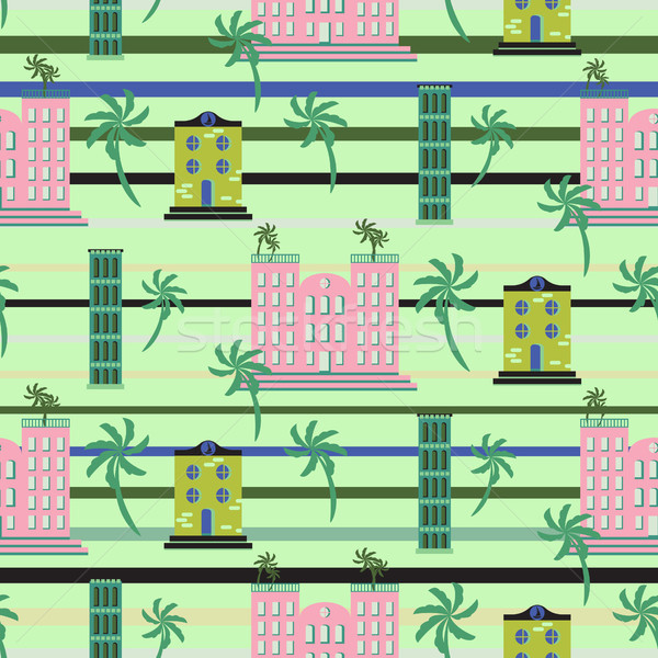 Hawaii resort buildings seamless vector pattern. Stock photo © yopixart