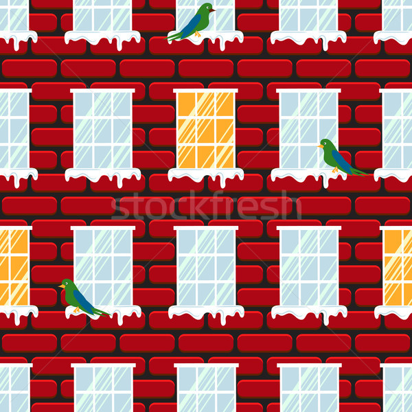 Stock photo: Windows seamless vector pattern and red brick wall building.