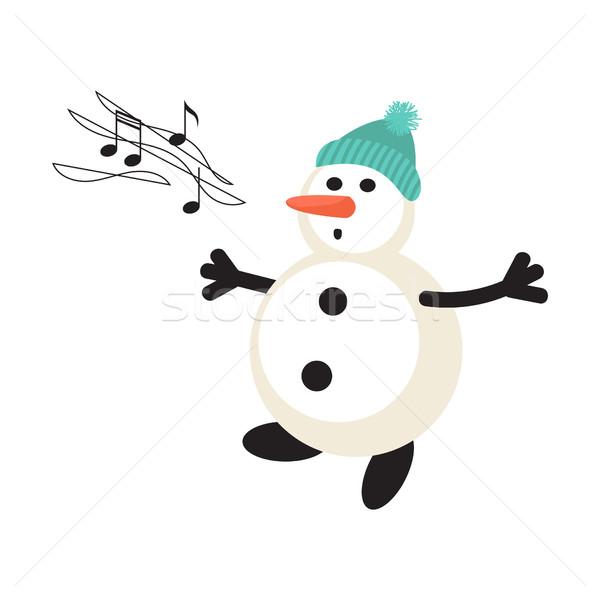 Cantare pupazzo di neve cartoon vector icon capodanno Foto d'archivio © yopixart