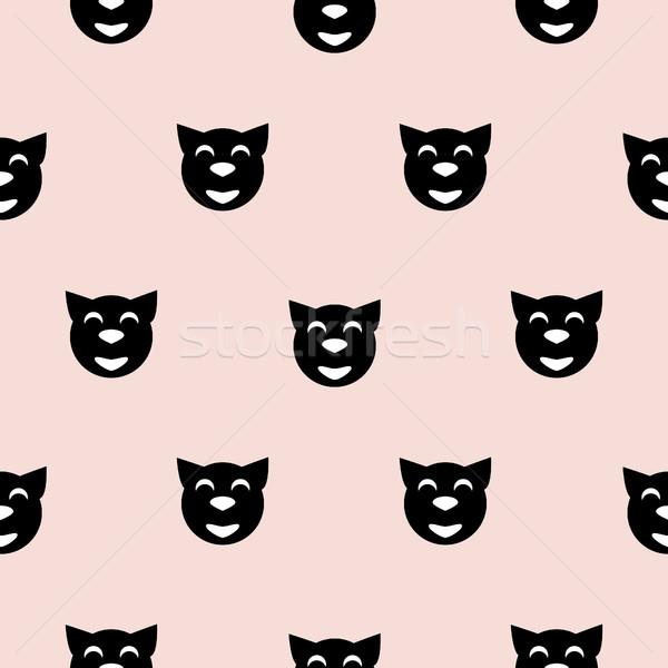 Black hipster cat kid scandinavian pattern. Stock photo © yopixart