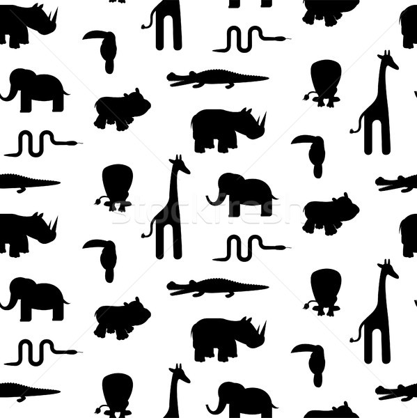 Zoo animal silhouettes seamless pattern vector. Stock photo © yopixart